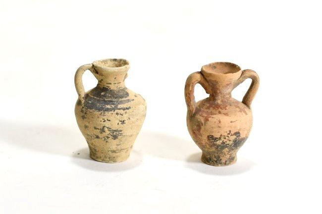 A Pair of Greek Miniature Pottery Amphoras - 2