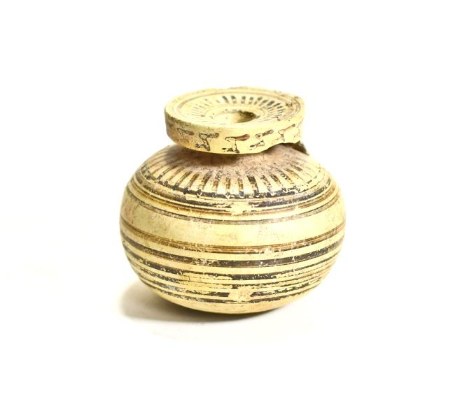 A Greek Corinthian Pottery Line Motif Aryballos
