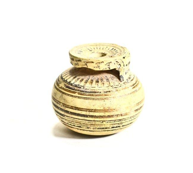 A Greek Corinthian Pottery Line Motif Aryballos - 2