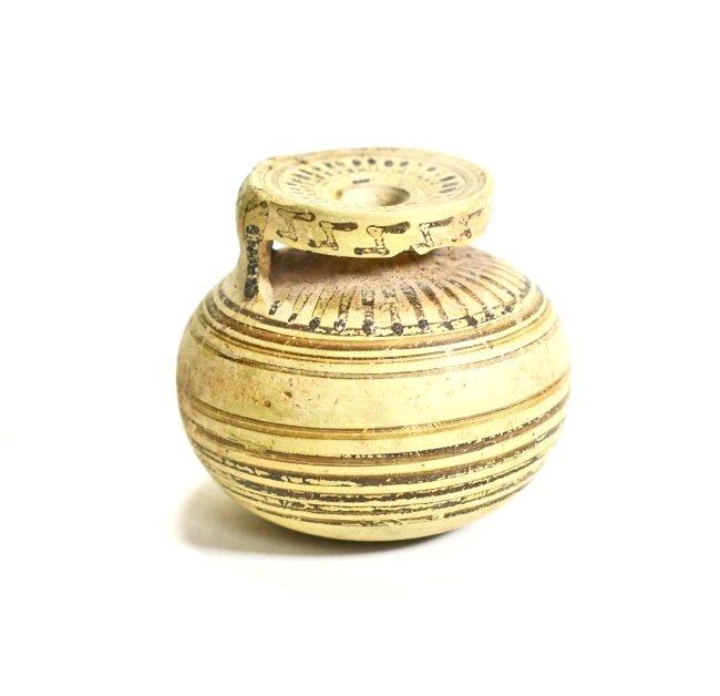 A Greek Corinthian Pottery Line Motif Aryballos - 3