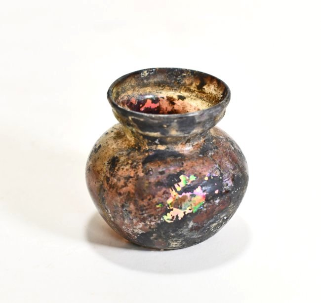 A Roman Aubergine Iridescent Glass Jar