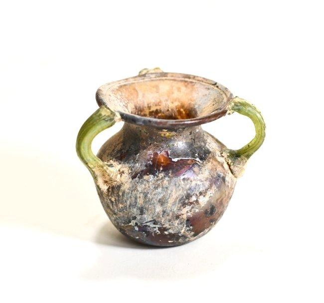 A Stunning Roman Aubergine Tri-Handled Glass Jar