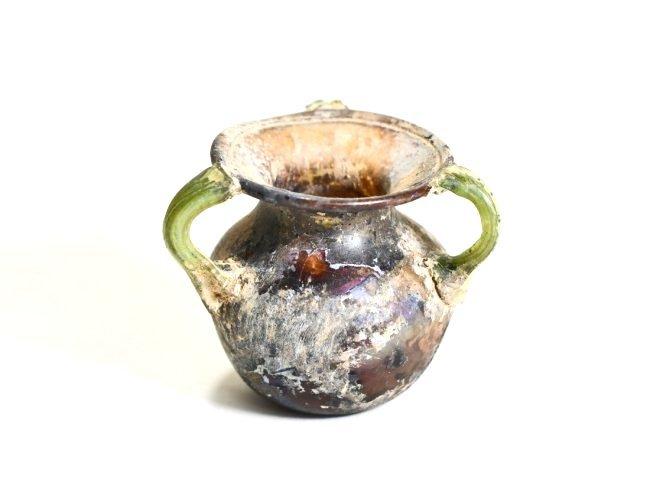 A Stunning Roman Aubergine Tri-Handled Glass Jar - 2