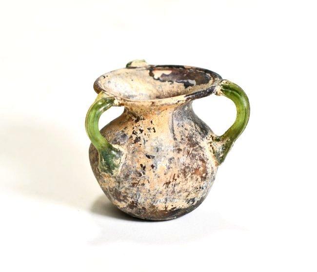 A Stunning Roman Aubergine Tri-Handled Glass Jar - 3