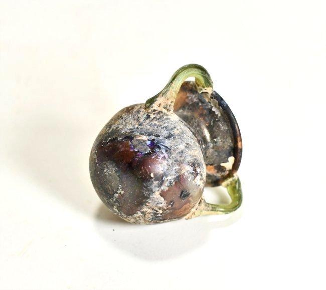 A Stunning Roman Aubergine Tri-Handled Glass Jar - 5