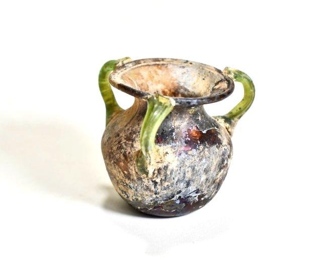 A Stunning Roman Aubergine Tri-Handled Glass Jar - 9