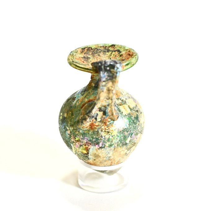 An Iridescent Roman Glass Jug - 3