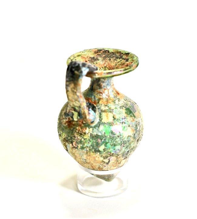 An Iridescent Roman Glass Jug - 4