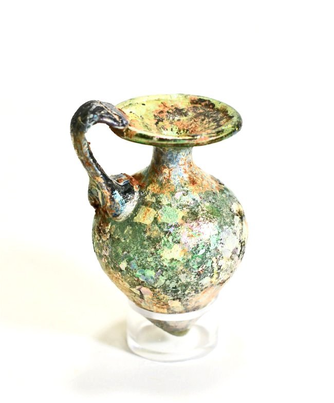 An Iridescent Roman Glass Jug - 5