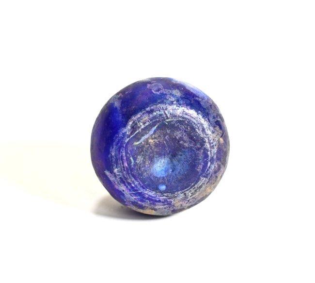 A Deep Blue Marbled Glass Flask - 6