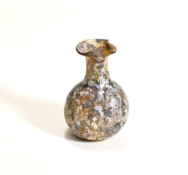 A Roman Glass Flask with Spouted Rim - 3