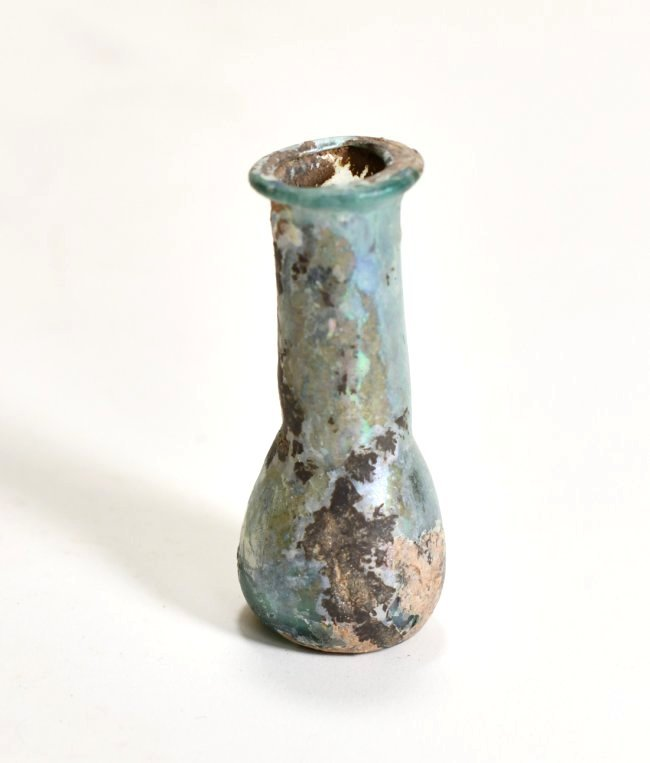 A Roman Glass Flask with Bluish Iridescence
