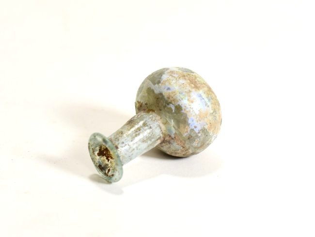 A Roman Glass Flask with Indented Bottom - 5