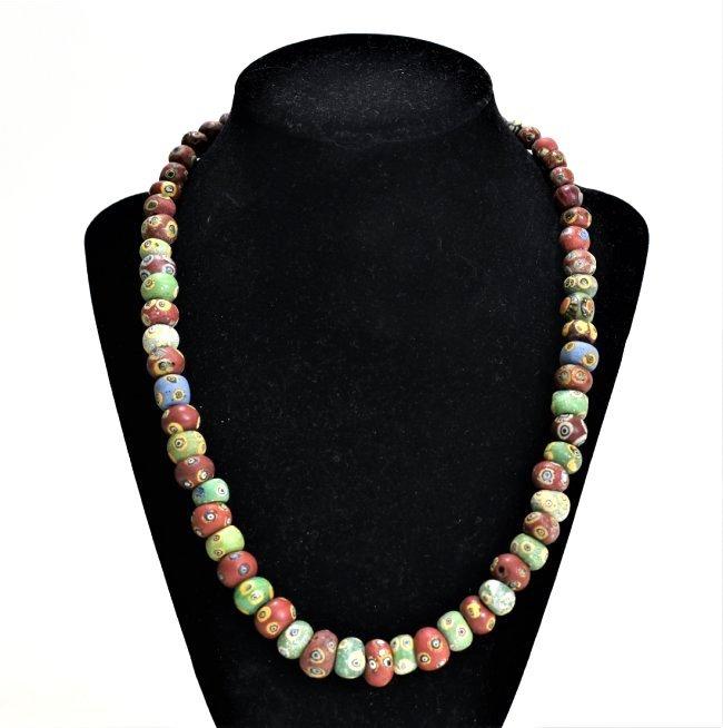 A Wearable Mediterranean Glass Eye Bead Necklace