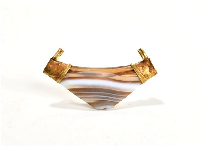A Western Asiatic Agate and Gold Bead - 2