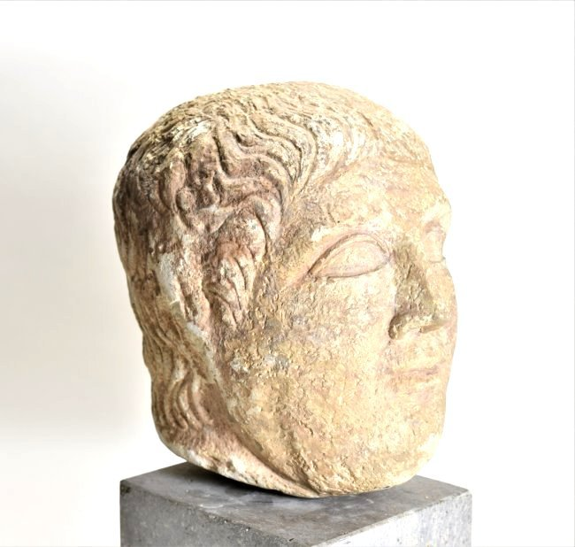 An Eastern Roman Stone Head of a Male