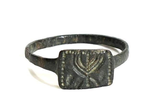 A Holy Land Menorah Bronze Ring