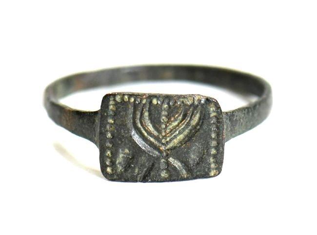 A Holy Land Menorah Bronze Ring - 3