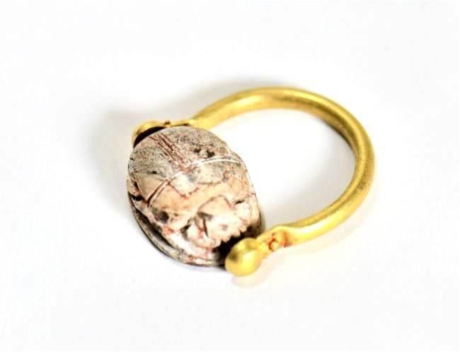 An Egyptian Scarab and Gold Swivel Ring