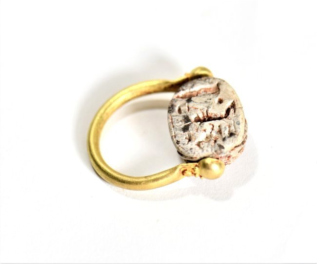 An Egyptian Scarab and Gold Swivel Ring - 5