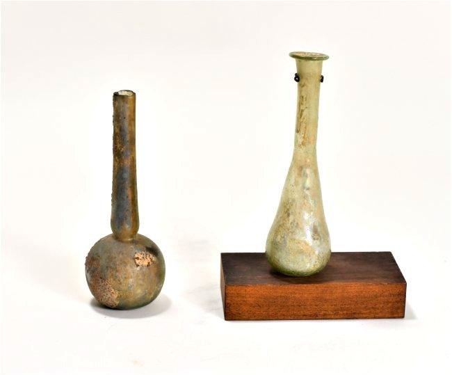 A Pair of Roman Glass Flasks