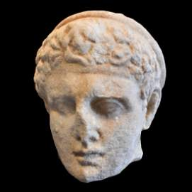Hellenistic Marble Head of a Young Athlete