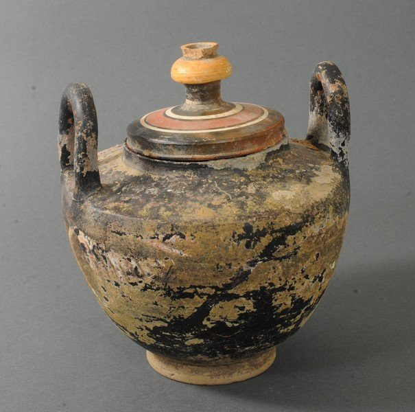 ANCIENT PAINTED TERRACOTTA VESSEL WITH TWIN HANDLES