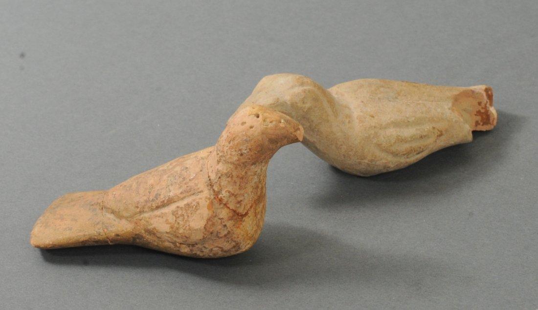 ANCIENT PAIR OF GREEK TERRACOTTA PIGEONS