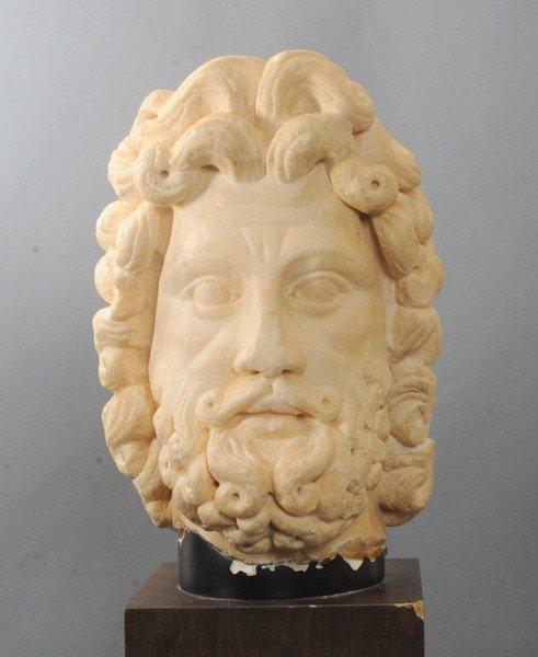 EXCEPTIONAL ROMAN LIFE-SIZE MARBLE HEAD OF ZEUS