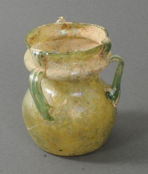 ANCIENT ROMAN THREE HANDLE GLASS FLASK