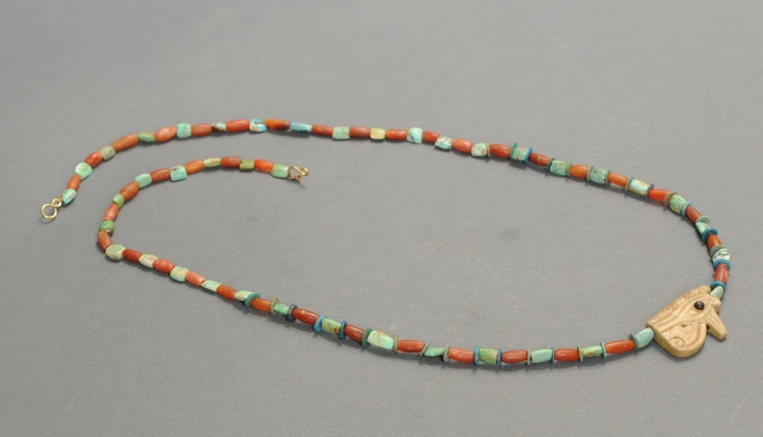 Egyptian Restrung Bead Necklace with Wedjat Eye