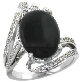 Natural 3.5 ctw onyx & Diamond Engagement Ring 14K