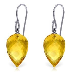 Genuine 19 ctw Citrine Earrings Jewelry 14KT White Gold