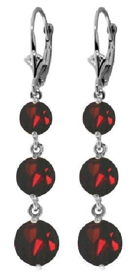 Genuine 7.2 ctw Garnet Earrings Jewelry 14KT White Gold
