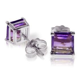 Genuine 1.75 ctw Amethyst Earrings Jewelry 14KT White