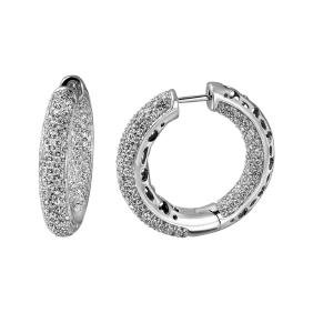 Genuine 2.93 TCW 18K White Gold Ladies Earring -