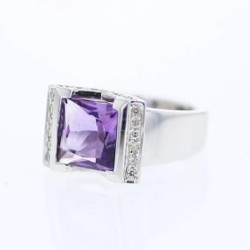 Emerald cut Amethyst Semi Bezel-set Diamond Ring in 18K