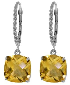Genuine 7.2 ctw Citrine Earrings Jewelry 14KT White