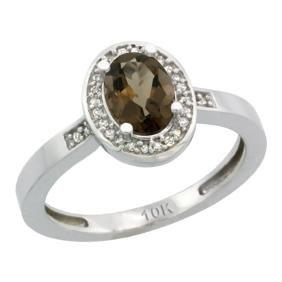 Natural 1.08 ctw Smoky-topaz & Diamond Engagement Ring
