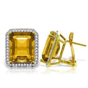 Genuine 10.80 ctw Citrine & Diamond Earrings Jewelry