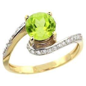 Natural 0.99 ctw peridot & Diamond Engagement Ring 14K