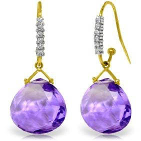 Genuine 17.18 ctw Amethyst & Diamond Earrings Jewelry