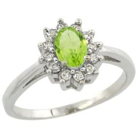 Natural 0.67 ctw Peridot & Diamond Engagement Ring 14K