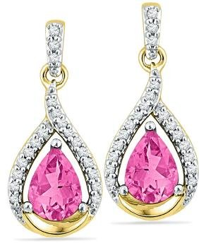 3.20 CTW Lab-Created Pink Sapphire Dangle Earrings 10K