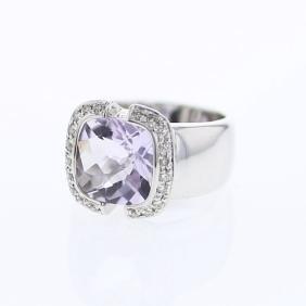 Pink Amethyst in Semi-Bezel Set Diamond Ring in 18K
