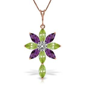 Genuine 2.0 ctw Peridot, Amethyst & Diamond Necklace