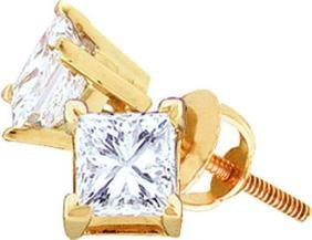 0.88 CTW Princess Natural Diamond Solitaire Stud