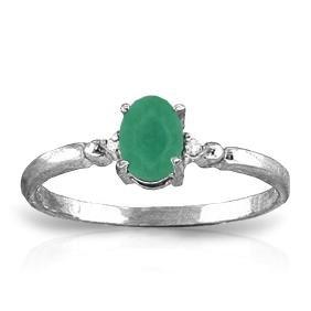 Genuine 0.51 ctw Emerald & Diamond Ring Jewelry 14KT