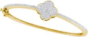 0.4 CTW Natural Diamond Cluster Bangle Bracelet 10K