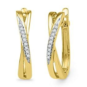 0.05 CTW Natural Diamond Slender Hoop Earrings 10K